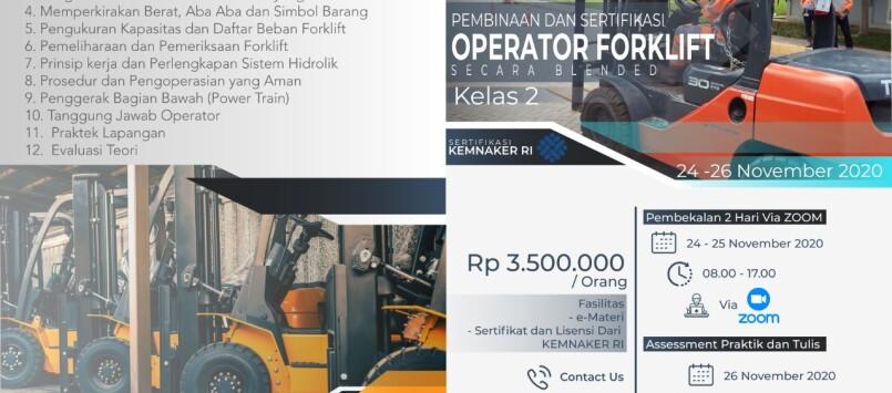 Pelatihan Operator Forklift Kelas 2 Sertifikasi KEMNAKER