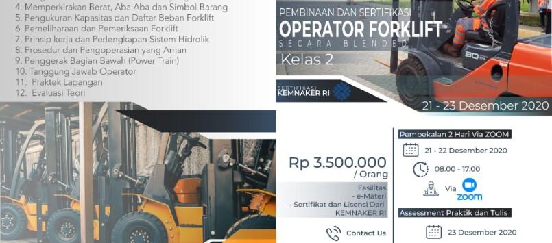 Pelatihan Operator Forklift Kelas 2 Sertifikasi KEMNAKER RI Desember 2020