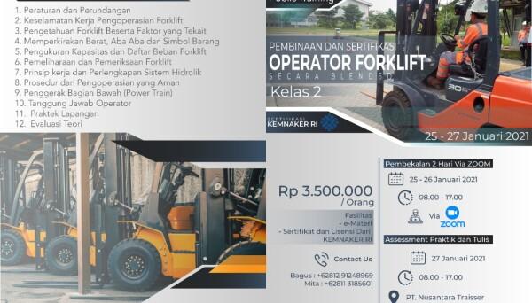 Pelatihan Operator Forklift Kelas 2 February 2021