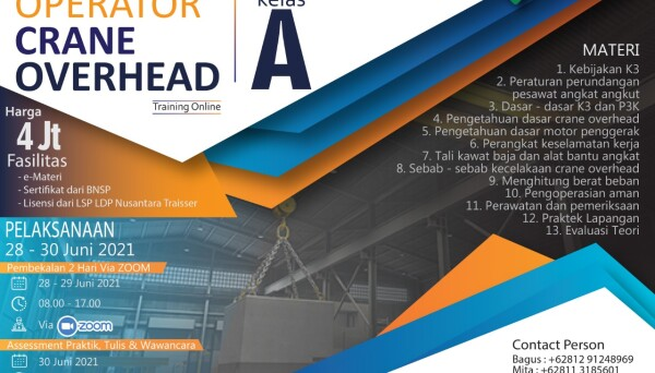 Pelatihan Operator Crane Overhead Kelas A Online June 2021