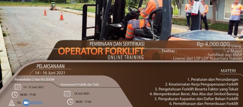 Pelatihan dan Sertifikasi Operator Forklift Juni 2021 Online Training