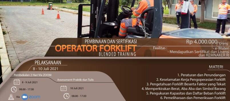 Pembinaan & Sertifikasi Operator Forklift KEMNAKER Juli 2021